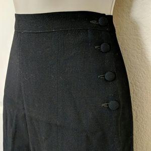 1940s Black Crepe A-line Skirt